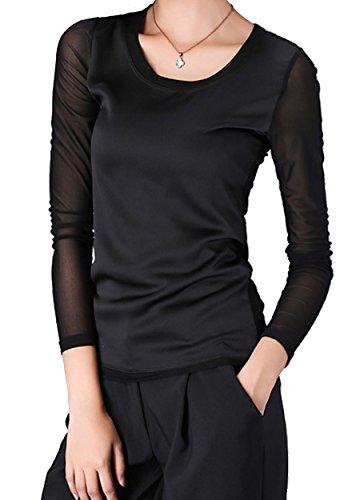 helan-damen-grund-reine-farbe-langarm-rundhals-blusen-eu-44-schwarz