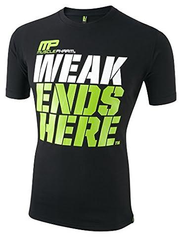 Musclepharm Men's 404 Crew Neck T-Shirt - Black, Medium