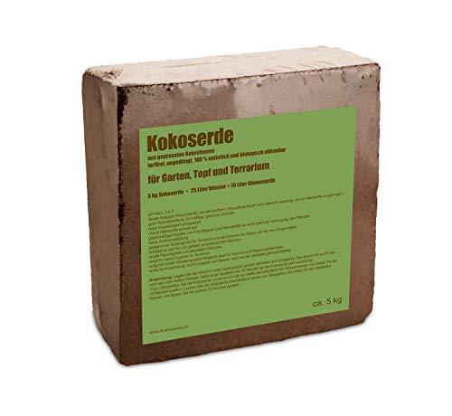 yayago Humusziegel - 5kg Kokoserde -gepresste Blumenerde aus Kokosfasern - torffrei, ungedüngt, 100{c487c8724cc0c9e49ad00ae9ee84b1270ba672db7b4829fd68eab2f068ab449f} natürlich und biologisch abbaubar - für Garten, Topf und Terrarium 1x 5kg