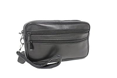 Frédéric Johns® - Sacoche homme porté main - vide poches - sacoche cuir homme - sac porté main cuir - pochette cuir - double compartiment - noir