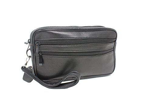 edceca702a Frédéric Johns® - Sacoche homme porté main - vide poches - sacoche cuir  homme - sac porté main cuir - pochette cuir - double compartiment - noir
