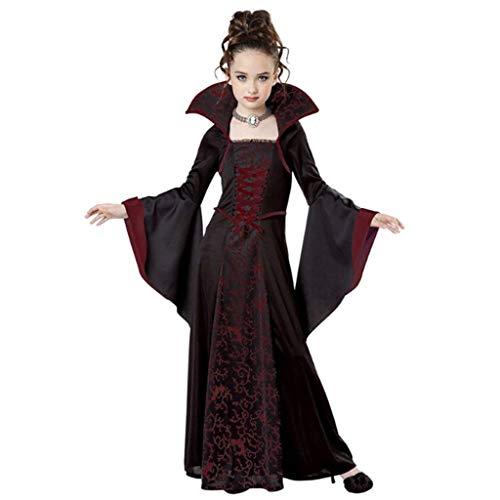Vampirin Kostüm Vampir - DONGBALA Hexenkostüm für Kinder, Halloween Hexenkostüm Damen Kostüm Halloween Hexen Damen Mädchen Kostüm Outfit für Kinder Kleinkinder Kinder Mädchen,Red,140cm
