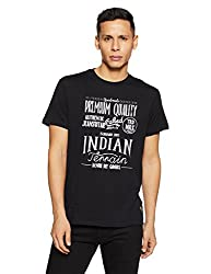 Indian Terrain Mens Solid Regular Fit T-Shirt (ITA17TSD392-8907633522317_Black_XL)