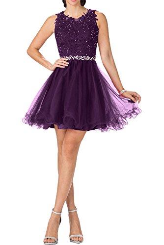 Charmant Damen Ballkleid kurzes Abendkleider Weiss Kleid Festlich Damen Abschlusskleider Kurz Cocktailkleid Spitze Traube