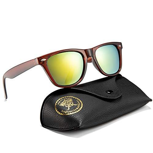 Rocf Rossini Polarisiert Herren Sonnenbrille für Damen klassisch Retro Sonnenbrillen Männer und Frauen Vintage Anti Reflexion UV400 Schutz - Unisex (Braun/Gelb)