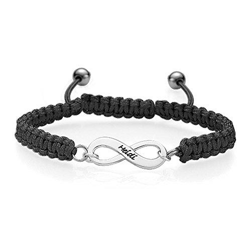 Schwarz Infinity-Unendlich Freundschaftsarmband - Personalisiert mit Ihrem  eigenen Namen! b5ff1cdaa2