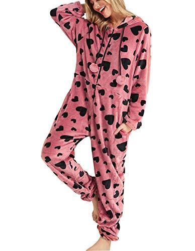 Dreamlove Damen Fleece-Onesie mit Bündchen an Arm- und Beinabschluss, extrem Kuscheliger Damen Jumpsuit, Overall Einteiler, Homewear Rosa S