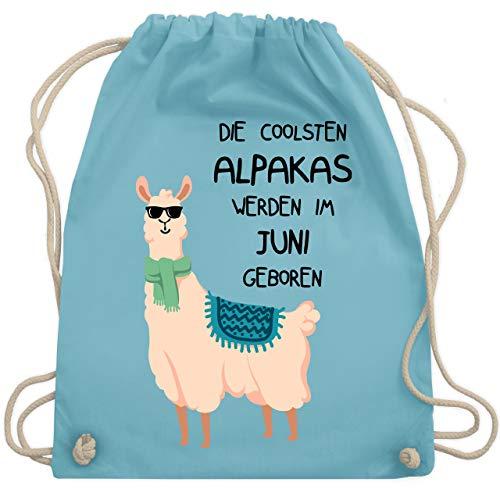 Geburtstag - Die coolsten Alpakas werden im Juni geboren Sonnenbrille - Unisize - Hellblau - WM110 - Turnbeutel & Gym Bag