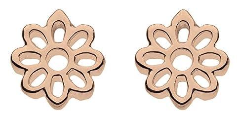 Kit Heath Sterling Silver and Rose Gold Plate Fleur Stud Earrings