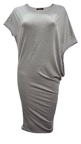 Fashion 4moins Nouvelles Femmes Robe Bodycon style chauve-souris à manches Cap. UK 8–14 Gris