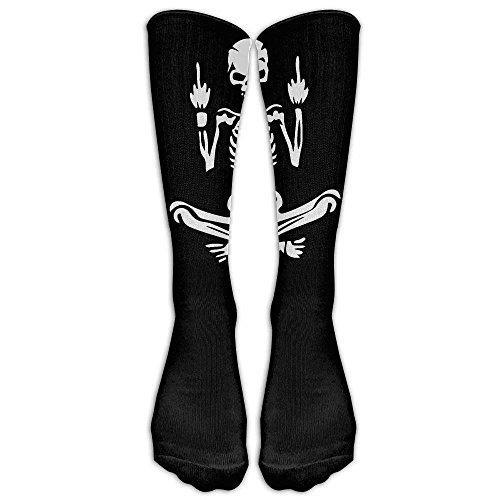 Personalisierte kühle Winter-warme Strümpfe Ehrfürchtige Mittelfinger-Schädel-Klassiker Große Qualitäts-Röhre für Frauen-Fitness-Kniestrümpfe