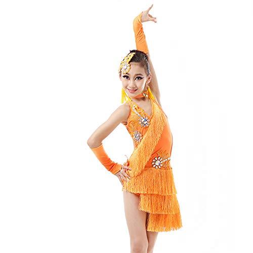 LONMEI Kinder Mädchen ärmellose Latin Pailletten Fransen Dance Rock - Salsa Tango Latein Lyrische Moderne Tanzkostüme, Orange / 130 (Lyrische Kostüm Mädchen)