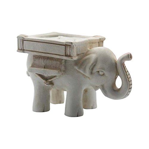 Tong Yue Soporte para velas, diseño de elefante de mármol, resina, manualidades, decoración del hogar, paquete de 2