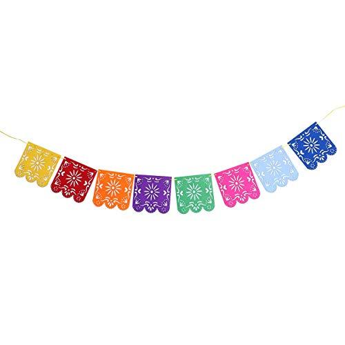 Vosarea Papel Picado Banner Quadratischer Filz, vibrierend, Mehrfarbig, Seidenpapier, für Party, Geburtstag, Hochzeit