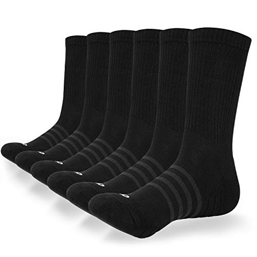 coskefy Socken Herren Damen Baumwolle Sneaker socken 6 Paare Lange Warm Wandersocken mit weicher Polsterung und Streifen Weich Sportsocken für Fitness Tennis Trekking Joggen Laufen Alltag