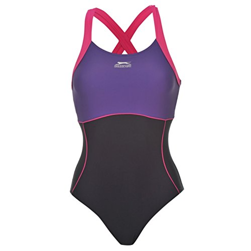 Slazenger da donna X schiena Donna One Piece Swimsuit Beachwear costumi da bagno, Navy, 10 (Foderato Bikini Swimsuit)
