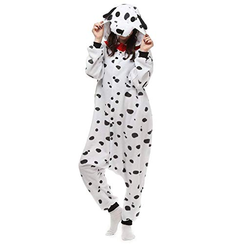 Kigurumi Männer Damen Pyjama Kostüm Overall Plüsch Overall Tier Verkleidung für Erwachsen, Weißer Hund (Plüsch Overall Kostüm)