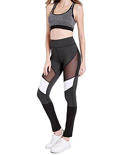 Femme Legging Sport Pantalon Yoga avec Poche Taille Haute Amincissant Couleurs mélangées Running leggings de sport petit pantalon pieds Noir