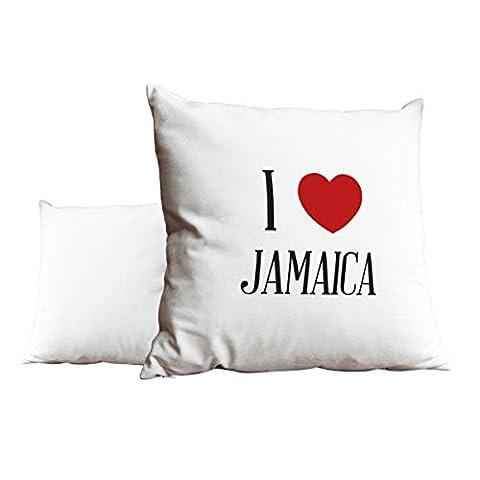 I Love Jamaica Blanc Scatter Taie d'oreiller 1969