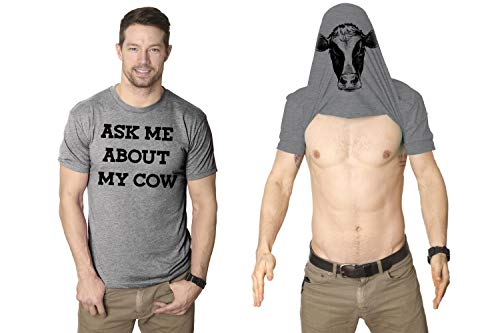 Mens Ask Me About My Cow Funny Farm Animal Flip Up T Shirt (Heather Grey) - XL - Herren - XL ()