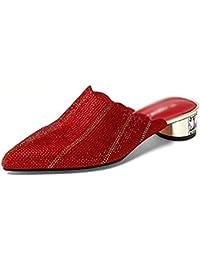 ZCJB Sommer Halb Hausschuhe Oberbekleidung Strass Leder Mode Mitte Ferse Matt Dick Mit Sandalen (Farbe : Rot