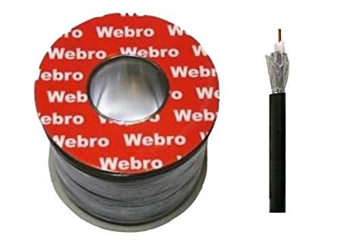 Webro - Cable coaxial (50 m, RG6, Digital, para Antena y televisión por satélite), Color Negro