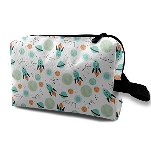 4fa0f86032db Magic Rocket Ship Astronauts Space Cool Galaxy Planet Print with Moon and  Stars Travel Makeup Cute Cosmetic Case Organizer Portable Storage Bag for  ...