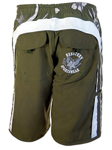 SEESTERN Herren Boardshorts Surfshorts mit Gummizug& Front Eingrifftaschen S-3XL /1743_VdA Grün