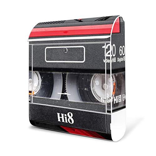 BANJADO Design Briefkasten weiß / 38x47x13cm groß mit Zeitungsfach/Stahl pulverbeschichtet/Wandbriefkasten mit Motiv Video Kassette, Briefkasten:mit silbernem Standfuß