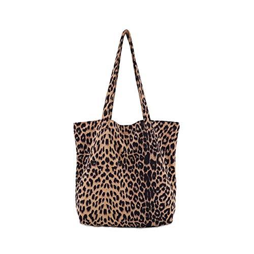 Mishuo Bolsos Mujer Bolsos Hobo Lona Vintage Leopardo