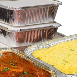 50 x Silver Foil Food Trays / Dishes / Containers & Lids - 120 x 145 x 49mm (No.2) by Swoosh Supplies Aluminium Food Tray