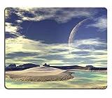 Cojín de ratón de Space Planets, alfombrillas de raton Cojín de ratón de Alien Planet D rendido ilustraciones de la computadora Rocks y luna Mat Cojín de ratón modificado para requisitos particulares de la computadora portátil de escritorio