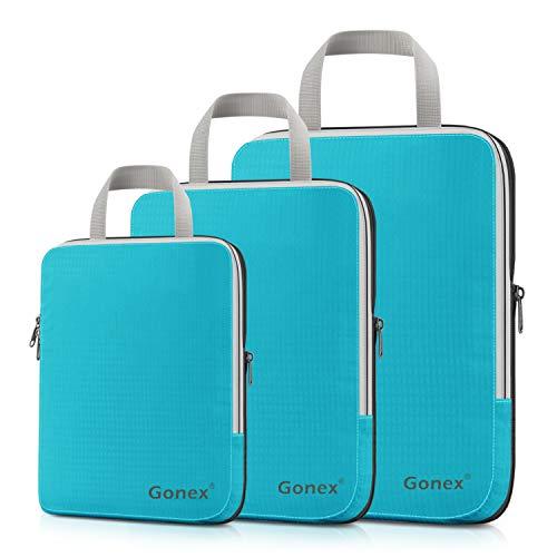 Compression Packing Cubes 3/4er Set, Gonex Kleidertaschen 4-teilig Verpackungswürfel, Kleidertaschen Set, Kofferorganizer Reise Würfel, Blau(3er), SML