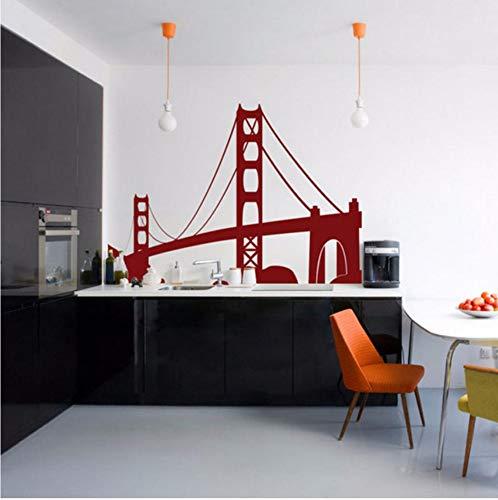 �rdigkeiten Usa San Francisco Golden Gate Bridge Wandtattoo Moderne Wohnkultur Für Wohnzimmer Vinyl Wandaufkleber 58X42 Cm ()