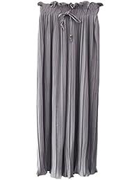 Hosen Damen Sommer Pin-up Breites Bein Hosen Unifarben Plissee Perfect  Pin-up High 1deabeb81a