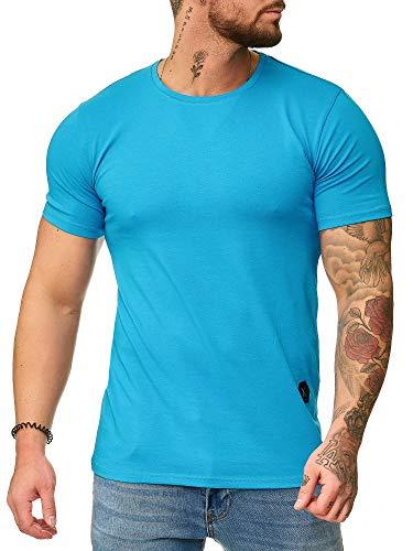 OneRedox Herren Rundhals T-Shirt Hoodie Longsleeve Kurzarm Shirt Sweatshirt Modell 1307 Türkis L