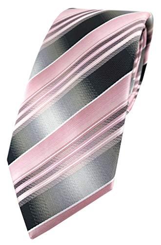 TigerTie Designer Krawatte in rosa hellrosa silber anthrazit grau gestreift