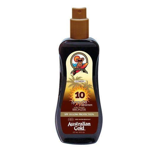 Australian Gold SPF 10 Spray Gel plus Bronzer, 1er Pack (1 x 237 ml) - Gold Bronzer