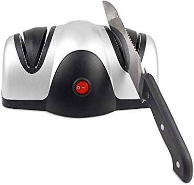 Todeco - Afilador de Cuchillos Eléctrico, Afilador de Cuchillas de Dos Etapas - Material: Plástico ABS - Potencia: 40 W - Negro/Plateado