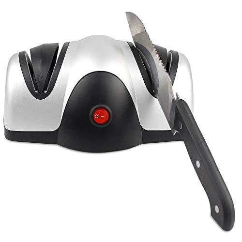 Todeco - Aiguiseur Electrique de Couteau, Aiguisoir à Deux Niveaux - Matériau: Plastique ABS - Puissance: 40 W - Noir/Argent