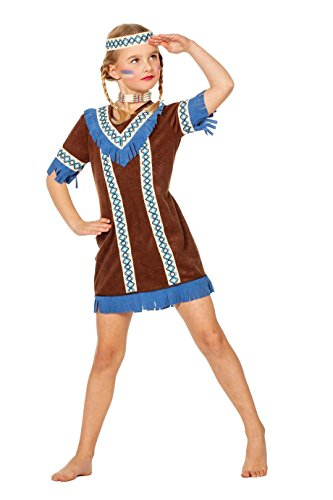 Jannes - Kinder Indianer Kostüm Braun Mädchen ()