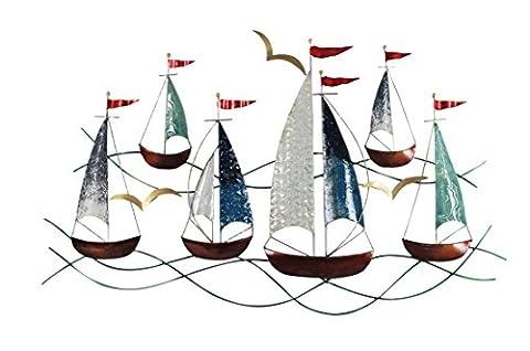 Déco murale métal : Régate 6 bateaux, Mod 3, L 80 cm
