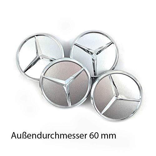 Lot de 4 cache-moyeu pour Mercedes Benz étoile 60 mm Gris pièce de rechange Logo chromé centre roue pour jantes aluminium