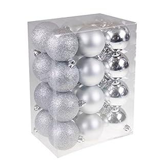 Clever-Creations-Christbaumkugeln-bruchsicher-festliche-Weihnachtsdeko-Silberfarben-60-mm-24-teilig