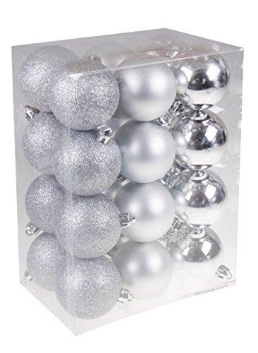 Clever Creations - Christbaumkugeln - bruchsicher - festliche Weihnachtsdeko - Silberfarben - 60 mm - 24-teilig