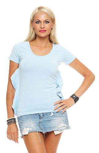 Damen Lockeres T-shirt mit Cut-Outs Rückenfrei Sommeroutfit Shirt Bluse Tunika Gr. S M 36 38, 3147 Skyblue