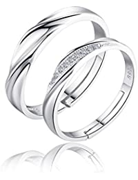 dc jewels King and Queen Sterling Silver Swarovski Zirconia Adjustable Couple Ring for Men and Women - Pack of 2