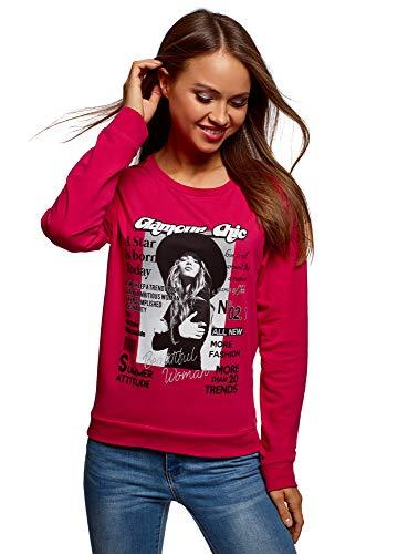 oodji Ultra Mujer Suéter de Algodón con Estampado, Rosa, ES 46 / XXL