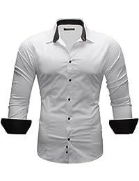 MERISH Slim Fit chemise pour homme chemise chic et décontracté, poignets et collier une couleur différente adapté aux affaires, de loisirs et d'événements festifs, Modell 110