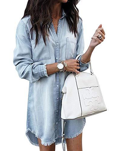Damen Denim Mini Hemdkleid Longshirt Loose Fit Casual Party Jean Blusenkleid Minikleid mit Taschen Hellblau XL